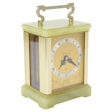 Fine Elliott London English Mantle Carriage Clock Green Onyx Glass Sides 7 Jewel