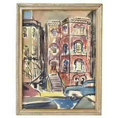 """Vintage 1950 Watercolor Painting """"Old Chicago"""" Row Houses Dick Fort"""