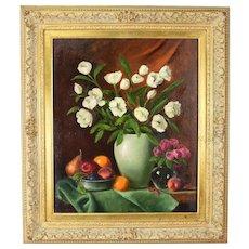 """1996 Louis Tedesco Realist Still Life Oil Painting """"Fruit & Flowers"""" Ornate Frame"""