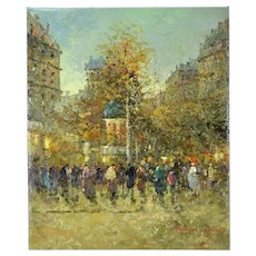Impressionist Oil Painting Parisian Street Scene w Tree & Figures signed Morgan