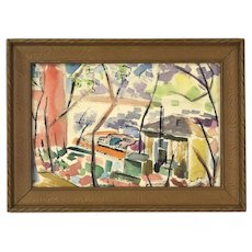 """Vintage 1950 Watercolor Painting """"Rhythms"""" Abstract Chicago Street Scene Dick Fort"""