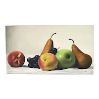 Huge Michel Pellus Photo Realist Still Life w Fruit Oil Painting