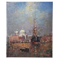 Impressionist Oil Painting Tall Ship in Venetian Lagoon w Basilica Salute Morgan