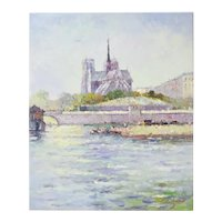 Impressionist Oil Painting Parisian Scene w Notre Dame from the Seine River