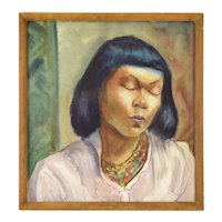 "Vintage Watercolor Painting ""Drowsy Model"" African American Woman Dick Fort"