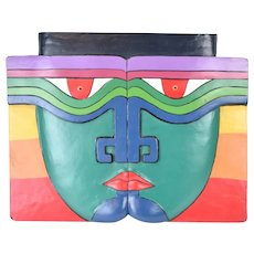 Vintage Carved Wood Sculpture Bas-Relief Abstract Face Primary Colors