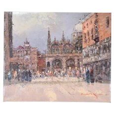 Impressionist Oil Painting Piazza San Marco St. Marks Square Venice Morgan