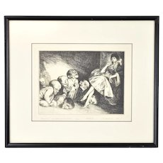"""Pilgrims"" 1991 Surrealist Etching Wlodarska after Bruno Schulz Signed Artist's Proof"