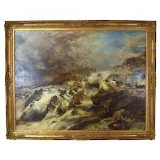1870 Richard Sebastian Bond Mountain Landscape Genre Painting Cader Idris Wales