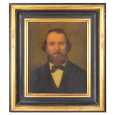 Finely Rendered 19th Century Portrait Youngish Man in Black w Bow Tie & Beard