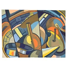Vintage 1950 Cubist Gouache Painting Abstract Shapes Dick Fort