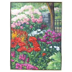 """1998 Nancy Day """"Red Poppies & Others"""" Floral Garden Landscape Painting"""
