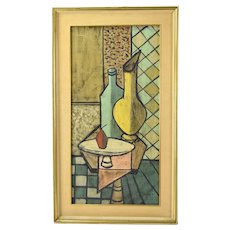 Vintage Mid-Century Modern Cubist Still Life Oil Painting by Vernet