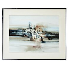 Vintage Modern Brutalist Abstract Cityscape Painting Stangl Wisconsin Artist