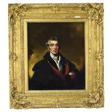 Circa 1840 Dramatic Oil Painting Portrait of English Nobleman or Officer