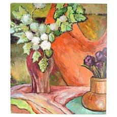 Vintage 1950's Still Life w Orange Vase Oil Painting Signed Dick Fort Chicago