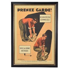 "Original 1930's Andre Galland French Occupational Safety Poster ""Prenez Garde!"""