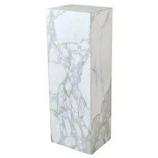 Vintage Modern White Figured Marble Monolith Pedestal Sculpture Stand
