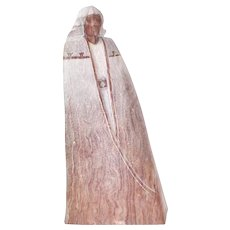Carved Stone Sculpture Native American in Robe by Navajo Sculpture Greg Johnson