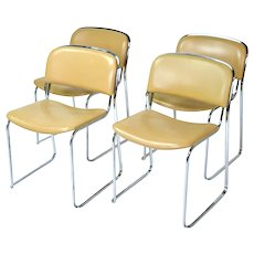 Set of 4 Italian Mid-Century Modern Stacking Leather and Chrome Chairs by Thema