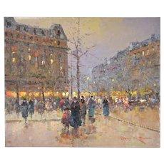 Impressionist Oil Painting Parisian Autumn Evening Street Scene Pedestrians Morgan