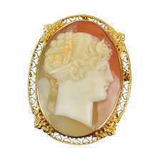 Vintage 14k Solid Gold Carved Shell Cameo Brooch Pendant Profile Neoclassical Woman
