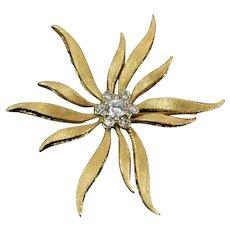 Vintage Solid 14k Gold Mid-Century Modern Starburst Flower Brooch Diamonds