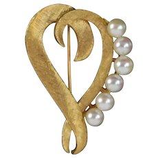 Vintage Solid 14k Gold Mid-Century Modern Stylized Heart Brooch Pearls