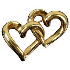 Vintage Solid 14k Gold Sweetheart Brooch Pair Interlocking Hearts