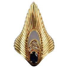 Erte Ltd Edition Peacock Rayonnement Ring 14k Gold Diamonds Sapphire