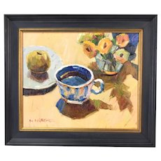 Vintage Impressionist Oil Painting Still Life with Antique Teacup by N. Harper