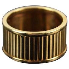 Vintage Estate 14k Solid Gold Thick Band Ring Reeded Channeled Design