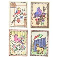 4 Watercolor Pen & Ink Bird Paintings Chicago Outsider Artist Sylvia Roberti #1