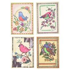 4 Watercolor Pen & Ink Bird Paintings Chicago Outsider Artist Sylvia Roberti #2
