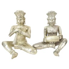 Vintage Hammered Tin Covered Sculptures of Hindu Musicians Playing Instruments
