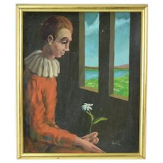 Vintage 1970s Oil Painting Contemplative Young Man Pierrot with Flower at Window