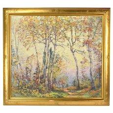 Circa 1930's Harold Harrington Betts Autumn Landscape Oil Painting