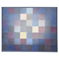 Vintage Modernist Oil Painting of Blue and Purple Squares