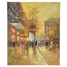 Impressionist Oil Painting Parisian Street Scene w La Madeleine by Morgan
