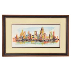 "Edward Cathony ""Sunrise"" Modern Abstract Cityscape Painting Chicago Artist"