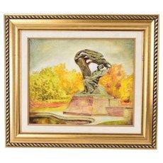 1986 Polish Oil Painting Monument to Chopin Warsaw by Stanislaw Bienkunski
