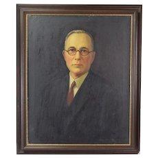 Vintage 1927 Oil Painting Portrait of Older Gentleman by Wilbur Fiskey Noyes