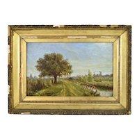 19th Century Louisiana Landscape Painting w Cows Emile Dantonet New Orleans