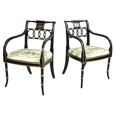 Pair English Regency Style Charleston Armchairs Equestrian Scene Upholstery