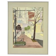 1950's Watercolor Painting Chicago Street Scene Tavern & Armando's Restaurant