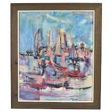 1978 Mid-Century Modern Painting Abstract Sailboats Provincetown Bodner