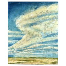 """Skyward"" Heavy Impasto Big Sky Landscape Textural Painting Signed Miller"