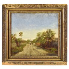 19th C. Louisiana Painting Figures on Dirt Road attributed to Dantonet New Orleans