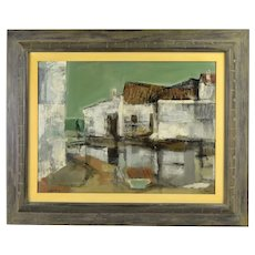 "1957 Edward Van Zandt ""Summerstorm, Carihuela"" Abstracted Oil Painting as-is"