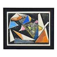Vintage Modern Abstract Geometric Oil Crayon Painting Signed KC Bennett